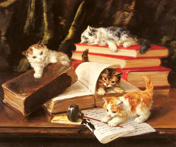 De Neuville Alfred Arthur Brunel Kittens Playing On A Desk